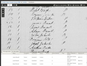 Lewis Burwell 1842 Census image on Family Search