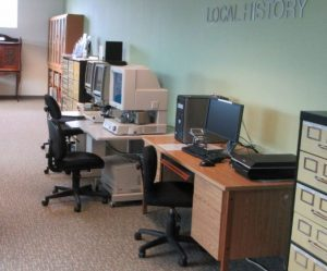 Microfilm readers at the St. Thomas Public Library