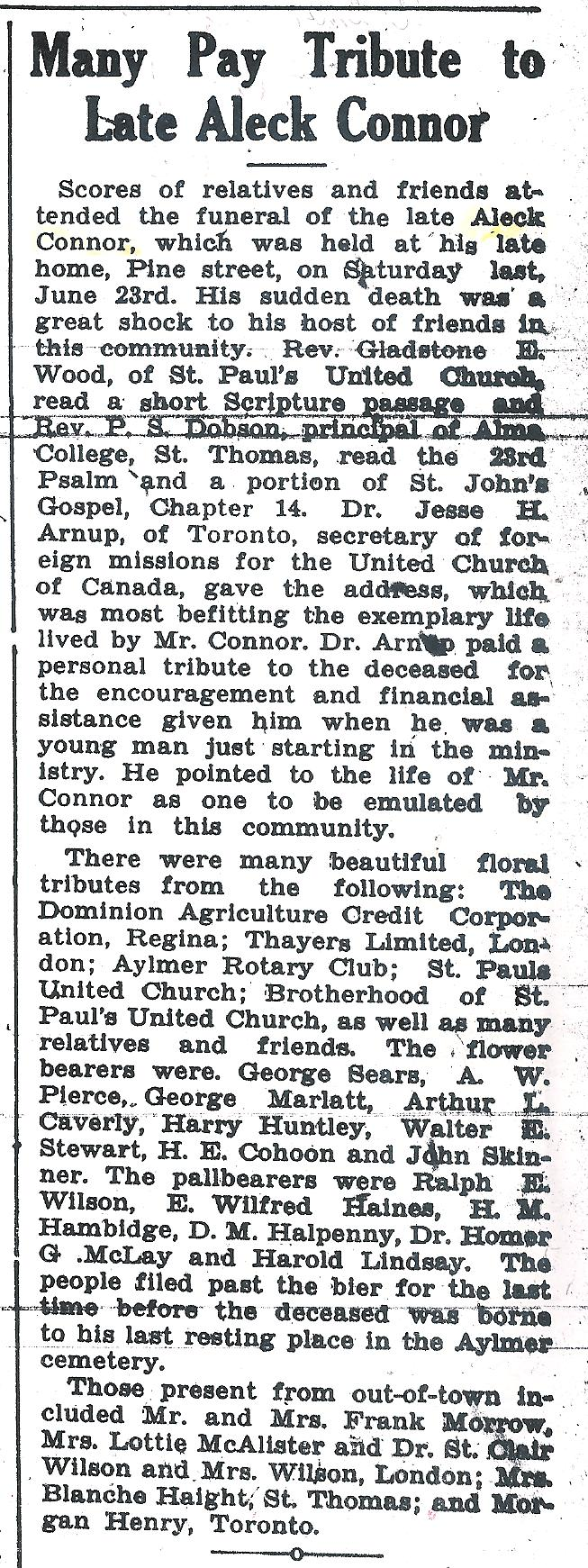 Aylmer Express Thur June 28 1934 p1 c6 Aleck Connor obituary