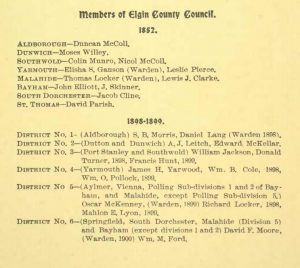 Members of Elgin County Council 1852 and 1898