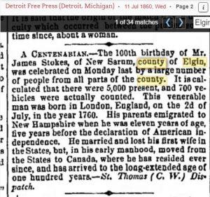 100th Birthday of James STOKES of New Sarum 1860