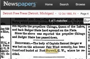Capt Samuel Berger drowned Oct 1860 off Fair Wind buried at Port Burwell