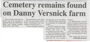 Cemetery remains found on Versnick Farm