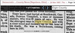 Death of Duncan Campbell at age 99 Nov 1887
