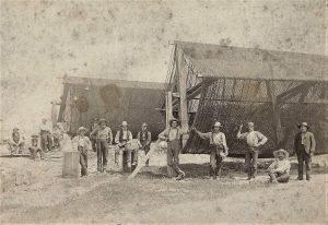Fisherman and nets at Port Bruce circa 1900