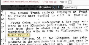 Frank Osler charged with murdering his wife near Wallacetown 1900