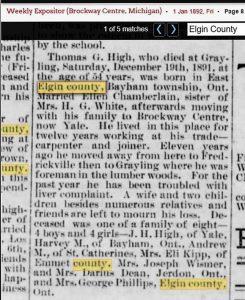 Thomas High Death 1892