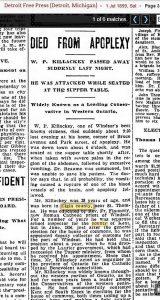 W. P. Killackey died 1899