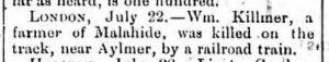 William Kilmer killed 1884