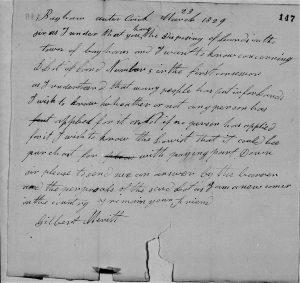 Gilbert Merritt 1829 land query